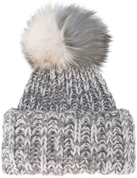 Inverni Bi-Colour Wide Cashmere Hat With Fur Pom Pom