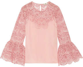 Fendi Appliquéd Cotton-blend Broderie Anglaise And Organza Top - Pastel pink