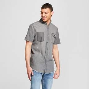 Jackson Men's Short Sleeve Mandarin Collar Destructed Denim Button-Down Shirt Gray