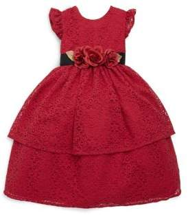 Laura Ashley Little Girl's Tiered Embroidered Lace Dress