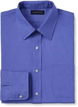 Lands' End Lands'end School Uniform Men's Regular Long Sleeve Straight Collar Supima Pinpoint