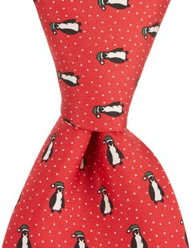 Roundtree & Yorke Penguin Cap Traditional Silk Tie