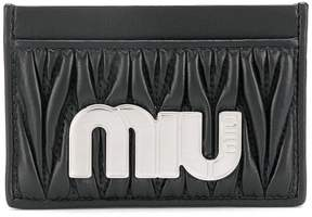 Miu Miu matelassé maxi logo card holder