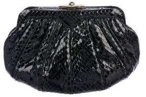 Judith Leiber Pleated Snakeskin Clutch