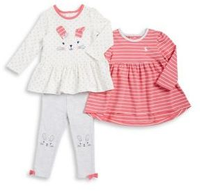 Little Me Baby Girls Three-Piece Striped Dress Dotted Dress and Bow Leggings Set