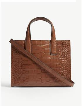 Kurt Geiger London Tan Brown Crocodile Embossed Leather Tote Bag