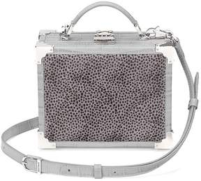 Aspinal of London Mini Trunk Clutch In Lavender Grey Haircalf Dove Grey Croc