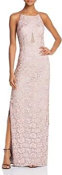 Aidan Mattox Mesh-Inset Lace Gown