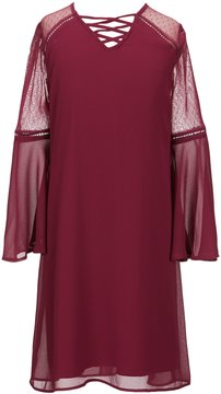 I.N. Girl Big Girls 7-16 Lace-Up Bell-Sleeve Dress