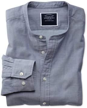 Charles Tyrwhitt Slim Fit Collarless Chambray Cotton Casual Shirt Single Cuff Size XL