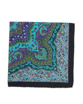 Stefano Ricci Paisley-Print Handkerchief, Teal