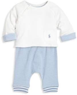 Ralph Lauren Baby's Two-Piece Cotton Top & Striped Jogger Pants Set