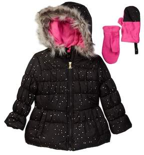 Jessica Simpson Foil Puffer with Faux Fur & Mittens (Little Girls)