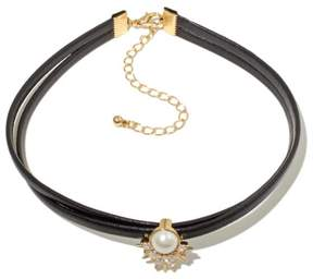Danielle Nicole Irta Simulated Pearl and CZ Black Choker Necklace