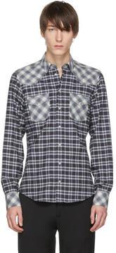 Dolce & Gabbana Blue and Black Check Western Shirt