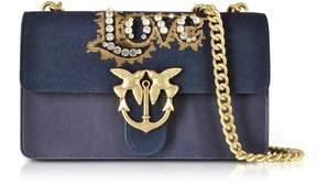 Pinko Love Denim And Leather Shoulder Bag W/crystals