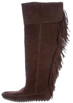 Minnetonka Suede Fringe-Trimmed Knee-High Boots