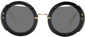 Miu Miu Black and Gold Oversized Round Sunglasses