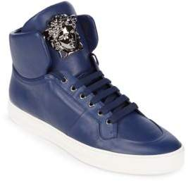 Versace Leather-High Top Sneakers