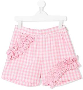 MSGM ruffled gingham shorts