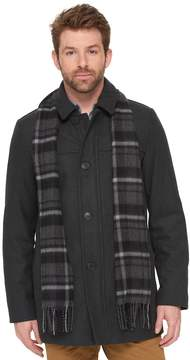 Dockers Wool-Blend Car Coat with Plaid Scarf