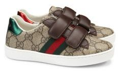 Gucci Kid's GG Supreme Canvas Strap Shoes