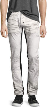 PRPS Demon Binary Slim-Straight Jeans with Tuxedo Stripe, White