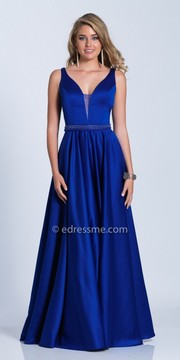 Dave and Johnny Classic A-line Plunging Beaded Waist Evening Dress