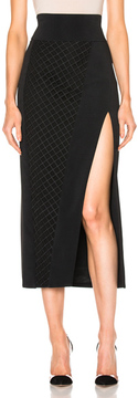 David Koma Asymmetrical Lace Insert Midi Skirt in Black.