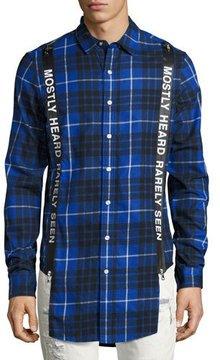 Mostly Heard Rarely Seen Logo Suspender Plaid Flannel Shirt, Blue