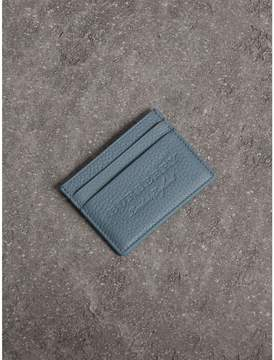 Burberry Embossed Textured Leather Card Case - DUSTY TEAL BLUE - STYLE