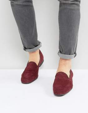 Asos Loafers In Burgundy Suede