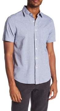 Jack Spade Striped Print Short Sleeve Linen Blend Shirt