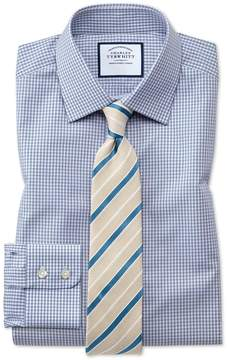 Charles Tyrwhitt Classic Fit Small Gingham Grey Cotton Dress Shirt French Cuff Size 17/34