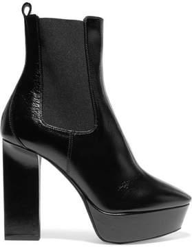 Saint Laurent Vika Leather Platform Ankle Boots - Black