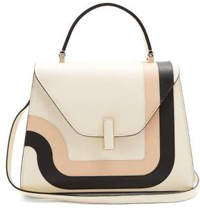 Valextra Iside Medium Grained Leather Bag - Womens - White Multi