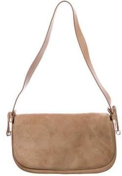 Salvatore Ferragamo Leather-Trimmed Suede Bag