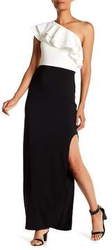 Laundry by Shelli Segal One Shoulder Crepe Gown