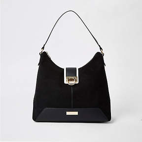 River Island Black lock front slouch bag