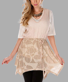 Lily Cream Abstract Sheer Sleeveless Sidetail Tunic - Women