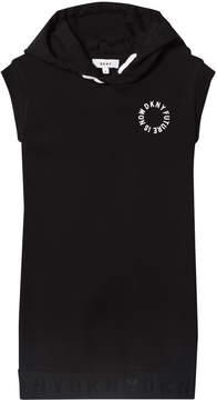 DKNY Black Hooded Branded Dress