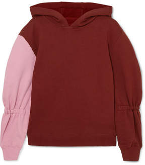 Tibi Two-tone Cotton-jersey Hooded Sweatshirt - Red