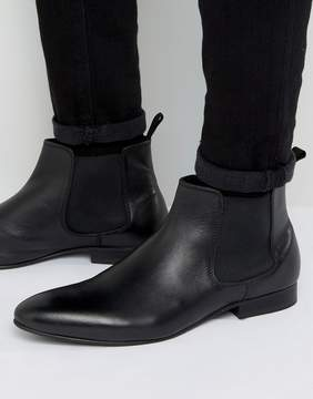 Dune Mister Chelsea Boots In Black Leather