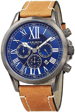 Akribos XXIV Mens Beige and Blue Leather Strap Watch