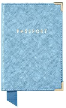 Aspinal of London Passport Cover In Bluebird Saffiano