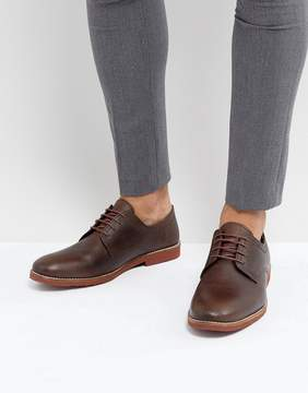 Red Tape Derby Shoes In Milled Brown Leather