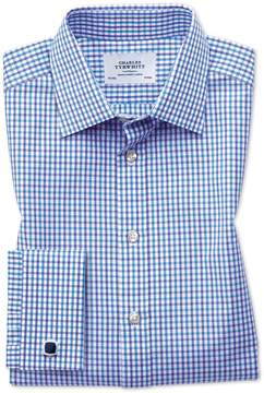 Charles Tyrwhitt Classic Fit Two Color Check Blue Cotton Dress Shirt Single Cuff Size 16.5/34