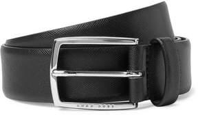 HUGO BOSS 3.5cm Black Celie-P Cross-Grain Leather Belt