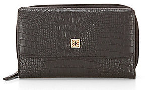 Kate Landry Square Status Works Crocodile-Embossed Wallet
