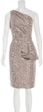 Carmen Marc Valvo Jacquard One-Shoulder Dress